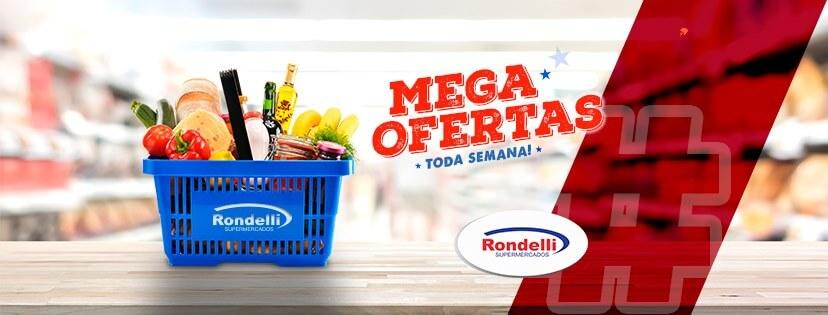 banner com ofertas dos supermercados rondelli bahia com cesta de compras