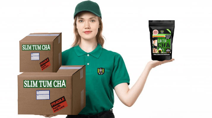 Mulher loira com caixas de distribuição slim tum chá e produto em outra mão. seja distribuidor banner